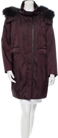 pradaPrada Hodded Fur-Trimmed Coat