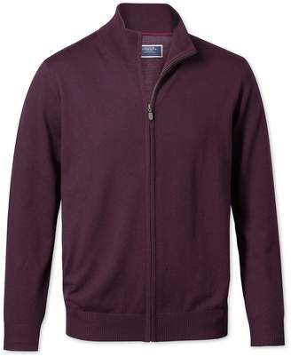 Charles Tyrwhitt Wine Zip Through Merino Wool Cardigan Size Large