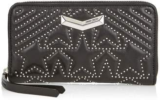Jimmy Choo NEFER Black Nappa Leather Zip Around Wallet with Embossed Stars and Mini Studs