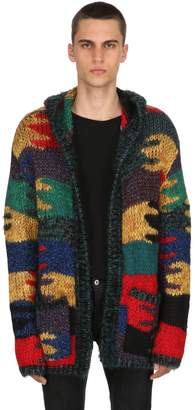 Saint Laurent Camouflage Wool Blend Jacquard Cardigan