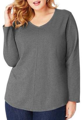 Just My Size Women's Plus-Size Long Sleeve V-neck Fashion T-shirt