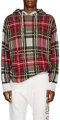 R 13 Men's Plaid Birdseye-Knit Cashmere Hoodie