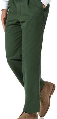 Charles Tyrwhitt Green classic fit single pleat washed chinos