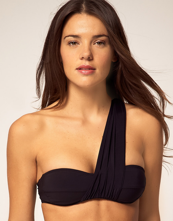 Mouille Bikini Top With One Shoulder Wrap Detail