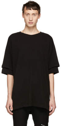 D.gnak By Kang.d Black Double Sleeve T-Shirt