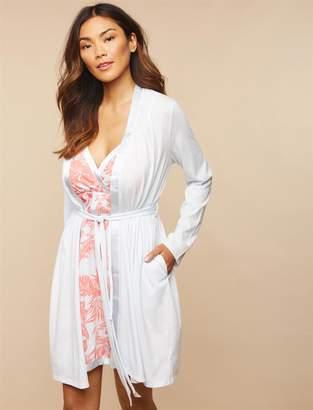 Motherhood Maternity Satin Trim Maternity Nightgown And Robe Set