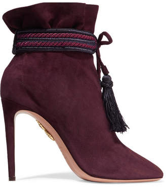 Aquazzura Shanty Tasseled Suede Ankle Boots - Burgundy
