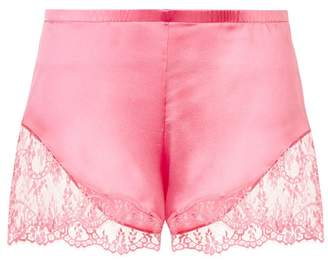 La Perla Exotique Fluorescent Pink Silk Pyjama Shorts With Leavers Lace Trim