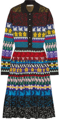 Mary Katrantzou Cecile Pleated Lurex Jacquard-knit Midi Dress - Black