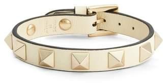Valentino Rockstud Leather Bracelet - Womens - Ivory