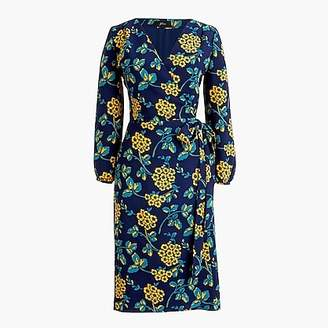 J.Crew Petite golden floral wrap dress in 365 crepe
