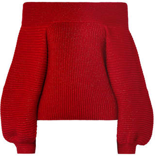 Oscar de la Renta Off-the-shoulder Metallic Ribbed Wool-blend Sweater - Red