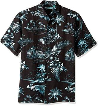 Cubavera Men's Short Sleeve 100% Rayon Point-Collar Tropical Floral Print Shirt