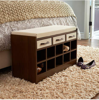 Household Essentials Entryway Storage Bench Seat with Shoe Cubbies