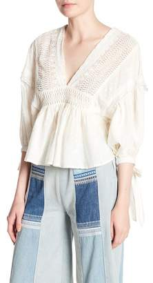Free People Drive You Mad V-Neck Knit Blouse