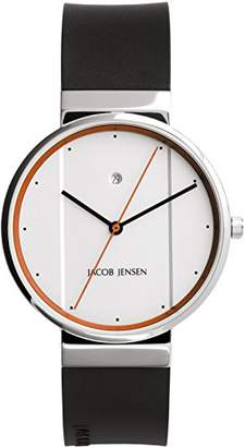 Jacob Jensen Unisex Analogue Classic Quartz Watch with Rubber Strap JJ755