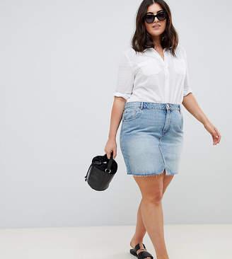 Asos DESIGN Curve denim pelmet skirt in lightwash blue