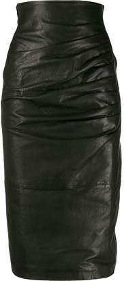 P.A.R.O.S.H. leather pencil skirt