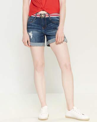 Dollhouse Distressed Denim Belt Shorts