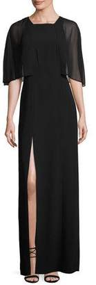 Halston Cape-Sleeve Stretch Crepe Gown, Black