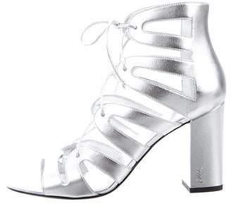 Saint Laurent Babies 90 Lace-Up Sandals w/ Tags Silver Babies 90 Lace-Up Sandals w/ Tags