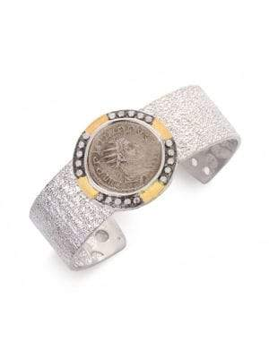 Coomi Silver Coin Diamond, 20K Yellow Gold& Sterling Silver Cuff Bracelet