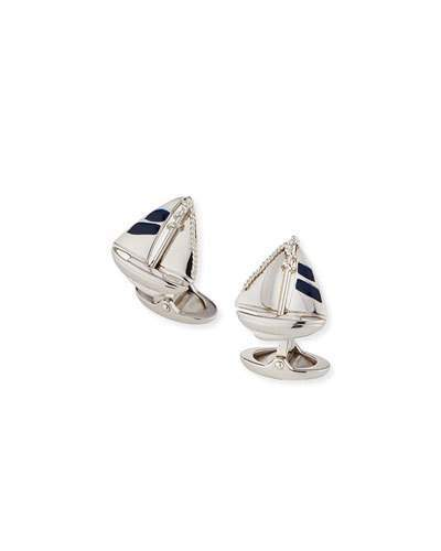 Alfred Dunhilldunhill Rhodium-Plated Sterling Silver Sailboat Cuff Links