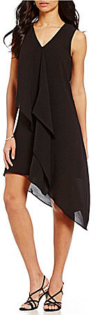 Adrianna Papell Adrianna Papell Asymmetrical Ruffle Shift Dress