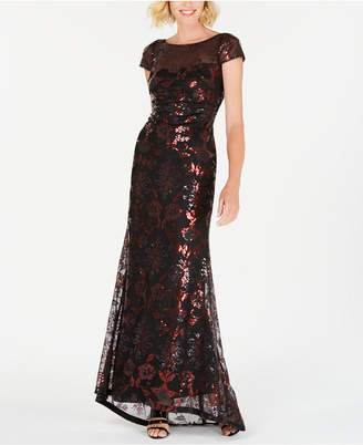Calvin Klein Sequined Mesh Gown