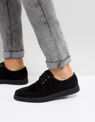 Asos Lace Up Creeper Shoes In Black Faux Suede