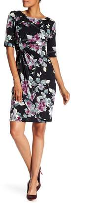 Connected Apparel Gathered Front Boatneck Floral Print Dress