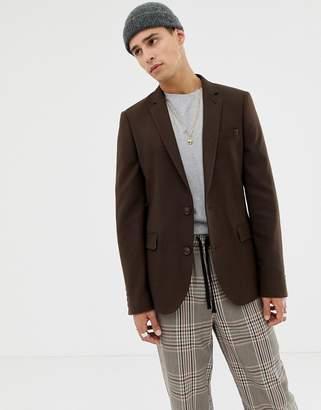 Asos Design DESIGN skinny blazer in brushed brown