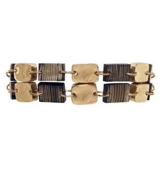 Mela Artisans Graphite Link Bracelet in Horn & Brass