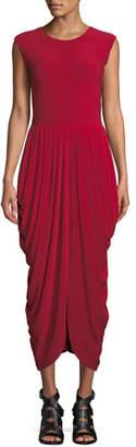 Norma Kamali Sleeveless Waterfall Drape Cocktail Dress