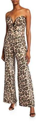 SHO Sequin Cheetah Sweetheart Bustier Jumpsuit