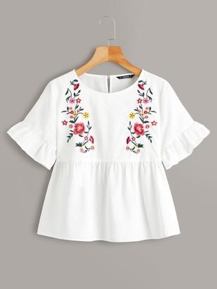 Shein Embroidery Floral Ruffle Cuff Peplum Top
