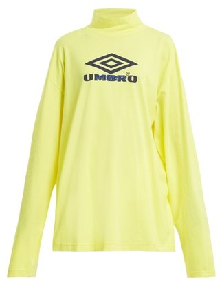 Vetements X Umbro Long Sleeved Cotton Jersey Top - Womens - Yellow