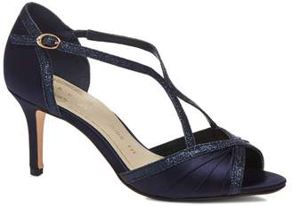 Debut Navy Satin 'Dancer' High Heel Wide Fit Ankle Strap Sandals