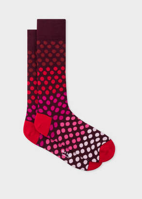 Paul Smith Men's Burgundy Gradient Polka Dot Socks