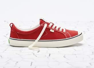 Cariuma OCA Low Stripe Samba Red Contrast Thread Suede Sneaker Women