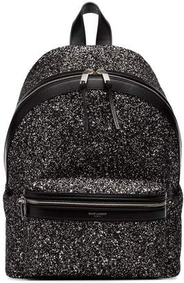 Saint Laurent black city glitter backpack
