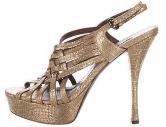 Vera Wang Lavender Label Embossed Platform Slingback Sandals
