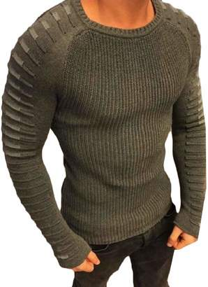 Loveinus Men's Casual Slim Fit Knitted Pullover Crewneck Sweater M