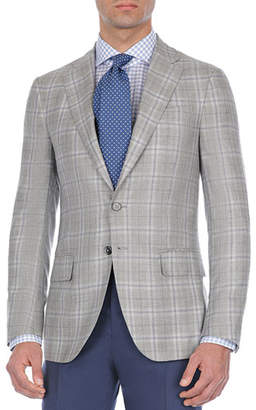 Isaia Windowpane Plaid Cashmere-Blend Sport Coat