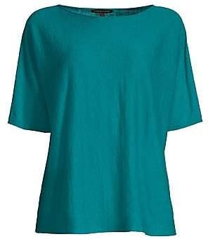 Eileen Fisher Women's Organic Linen & Cotton Elbow Sleeve Top