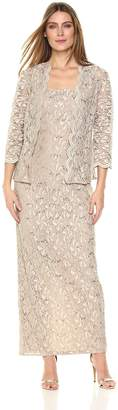 Alex Evenings Women's Two-Piece Long Dress and Jacket (Petite and Regular Sizes)