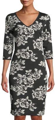 Neiman Marcus V-Neck Half-Sleeve Floral Sheath Dress