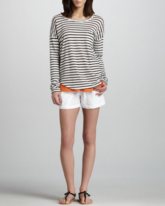 Vince Striped Drop-Sleeve Tee
