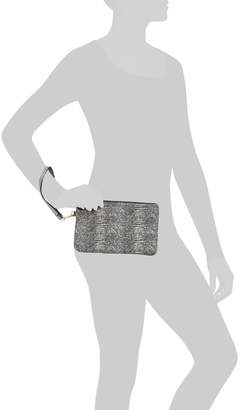 Olivia Leather Snake Print Large Clutch