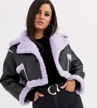 Asos DESIGN Petite reversible crop bonded borg jacket